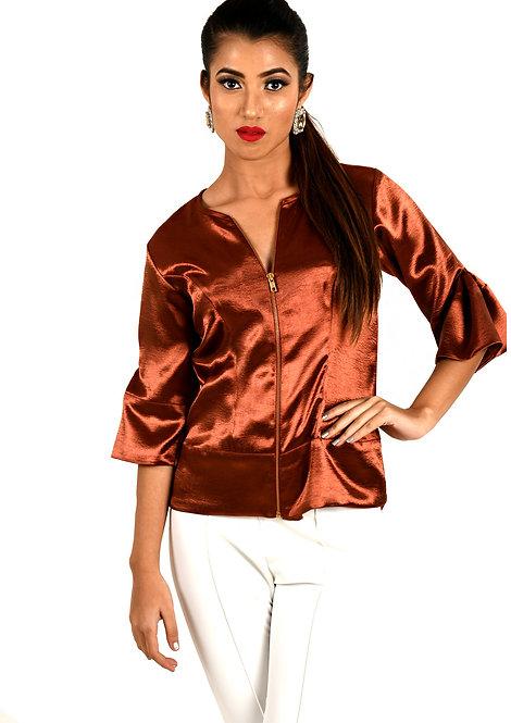 Metallic Copper Jacket Top