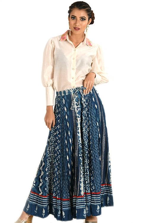 Indigo Block Print Skirt