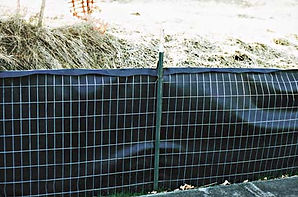 BMP's Wire Back Silt Fence attaches engineered and tested woven filter fabric to galvanized mesh to make the finest and most cost effective silt fence system