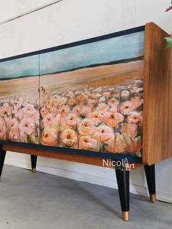 -Blossom Blossom- Handbemaltes Vintage Retro Sideboard