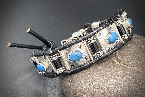 Lapis & Onyx w/ Leather Bracelet