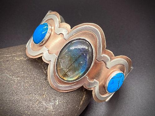 Labradorite, Turquoise, Bronze, & Silver Cuff