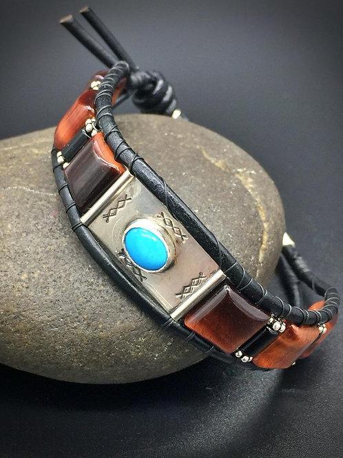 Vintage Style Turquoise Beaded Leather Bracelet