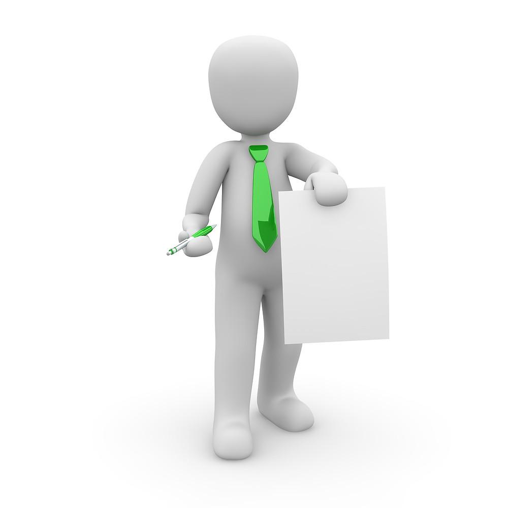 אנימציה של אדם ללא פנים עם עניבה  המחזיק דף לבן ועט