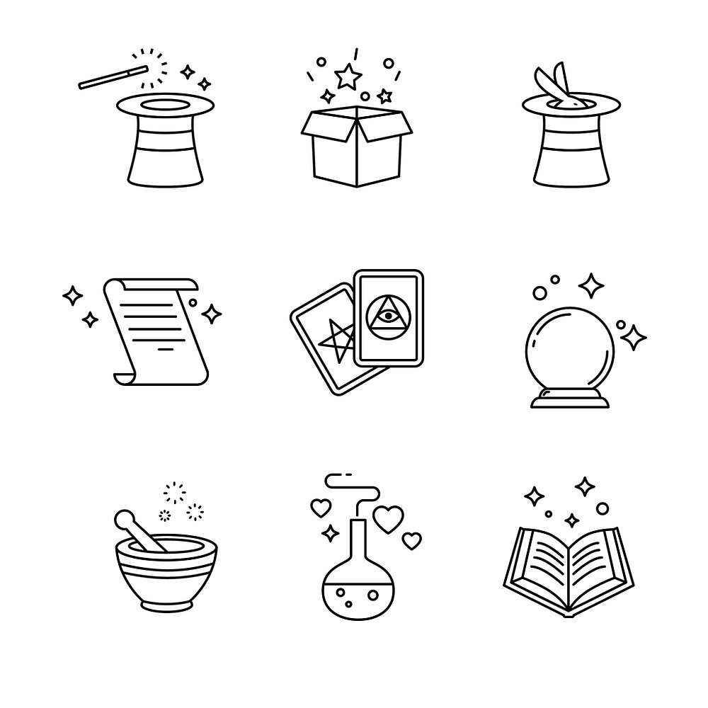 Magical Symbols: a hat, a box, a bunny hiding in a hat, a scroll, two playing cards (my favorite), a crystal ball, a mortar and pestle, a potion, and a spell book!