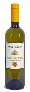 A bottle of  Grechetto a unique grape that makes a unique high quality italian wine and honors Umbrian Italian local products