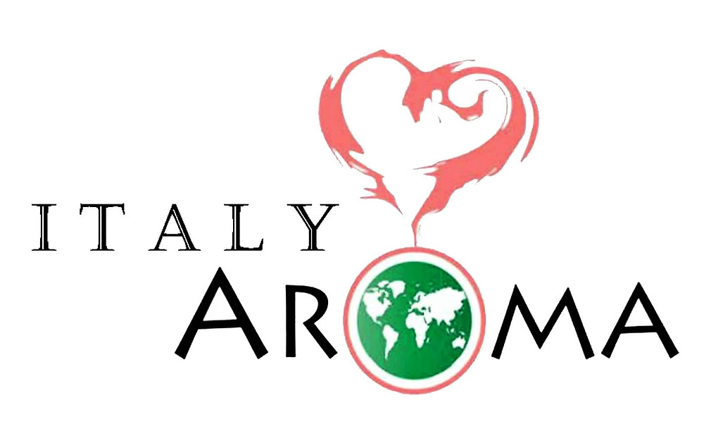 A picture of the logo showing the words Italy and Aroma with a heart shape on top showing the love for italian culture.