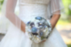 Beautiful wedding bouquet of brooches in