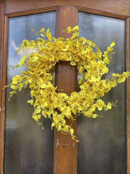 Faux forsythia wreath -handmade