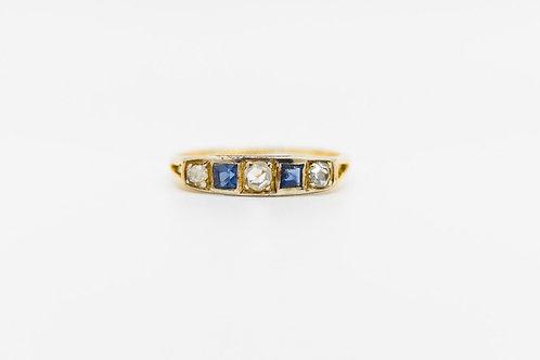 Diamond & Sapphire Wedding Band 14K/ Plat