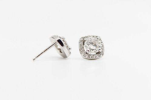 Diamond Halo Stud Earrings 14K