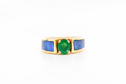 Emerald & Opal Cocktail Ring 14K
