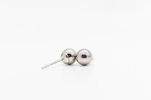 White Gold Stud Earrings 14K