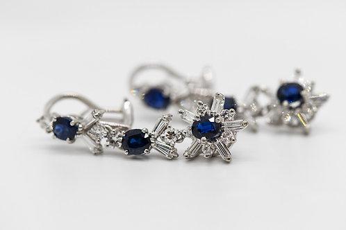 Diamond & Sapphire Earrings 14K