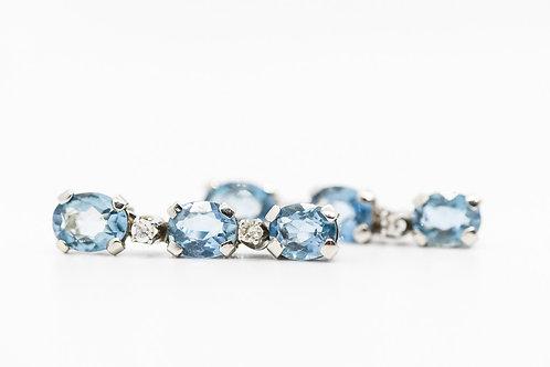 Blue Topaz Earrings Plat