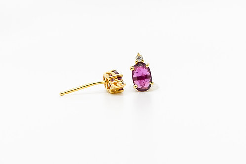 Ruby Stud Earrings 14K