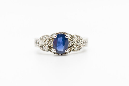 Sapphire & Diamond Cocktail Ring 14K