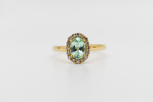 Paraiba Tourmaline & Diamond Ring 14K