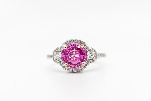 Pink Sapphire & Diamond Cocktail Ring 14K