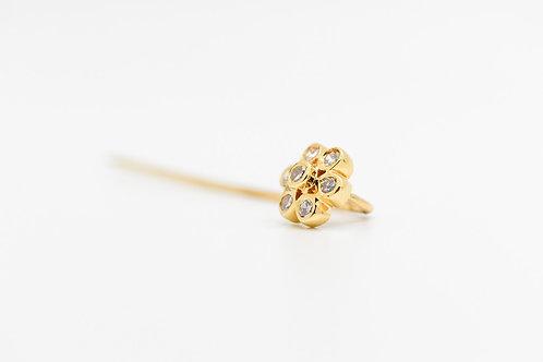 Diamond Flower Pin 14K