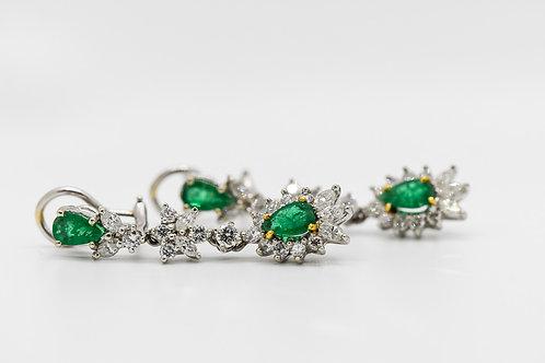 Diamond & Emerald Earrings 18K