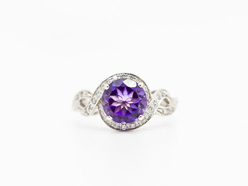 Diamond & Amethyst Cocktail Ring 14K