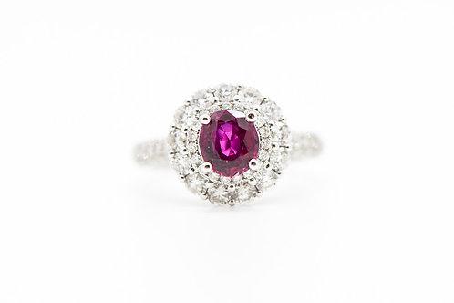 Ruby & Diamond Cocktail Ring 14K