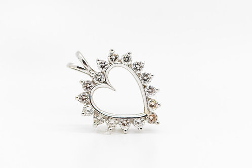 Diamond Heart Pendant 14K WG