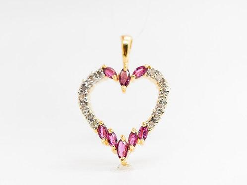 Diamond & Ruby Heart Pendant 14K
