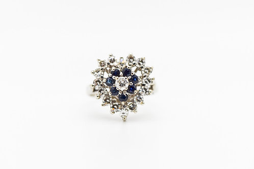 Diamond & Sapphire Cocktail Ring 14K