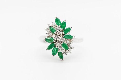 Diamond & Emerald Cocktail Ring 14K