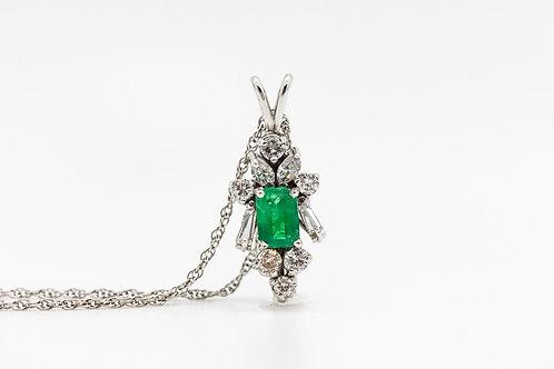 Emerald/ Dia Necklace 14K