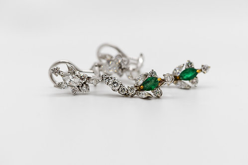 Diamond & Emerald Earrings 14K