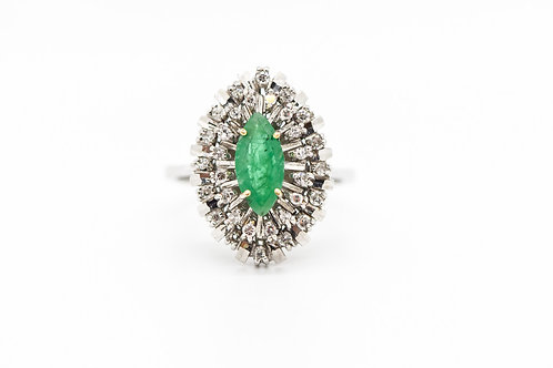 Diamond & Emerald Cocktail Ring 18K