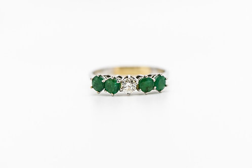 Emerald & Diamond Cocktail Ring 14K