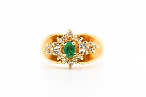 Diamond & Emerald Cocktail Ring 14K