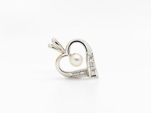 Diamond & Pearl Heart Pendant 14K