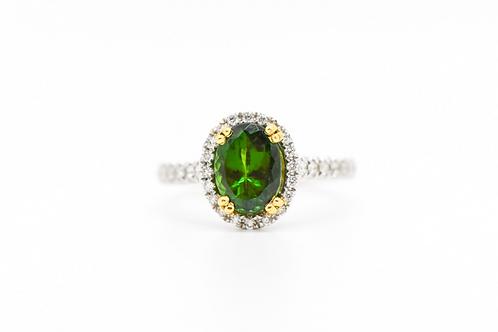 Tsavorite & Diamond Cocktail Ring 18K