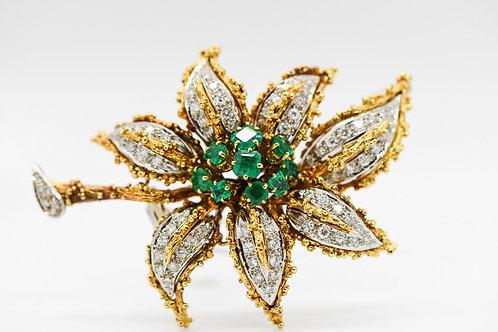 Diamond & Emerald Brooch 18K