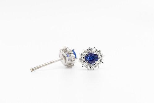 Diamond & Sapphire Stud Earrings 18K