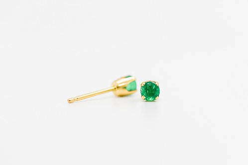 Emerald Stud Earrings 14K