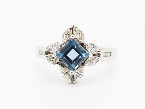 Blue Topaz & Diamond Cocktail Ring 14K