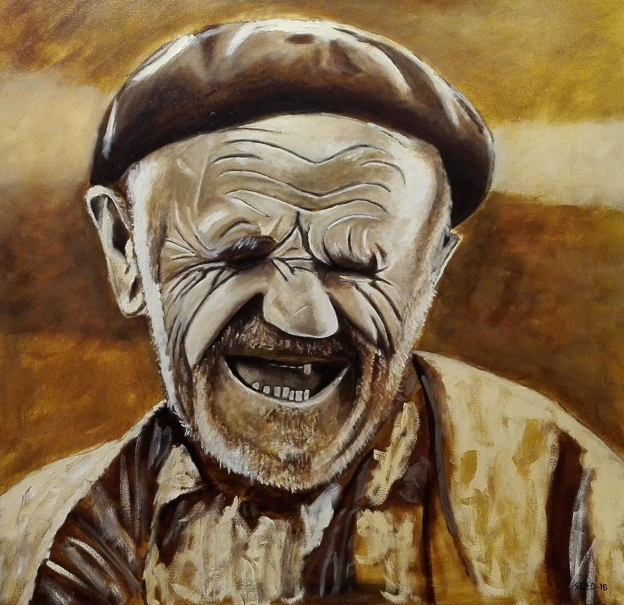Retrato Viejito Feliz