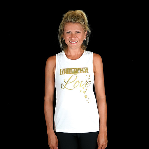 White VM LOVE Ladie's Muscle Tank