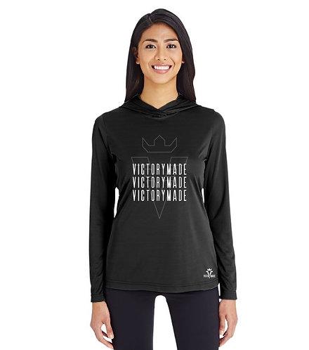 Black VM Ladies' Multi Wordmark Performance Hoodie