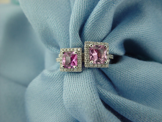 """Classic"" 2 unheated emerald cut pink sapphires"