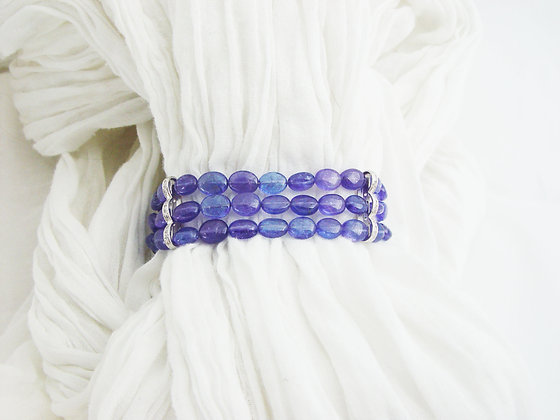 3 strands tanzanite and diamonds