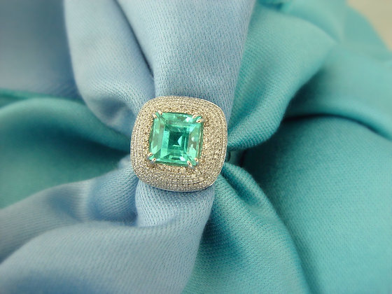 """Youkounkoun"" faceted emerald cut Paraiba"