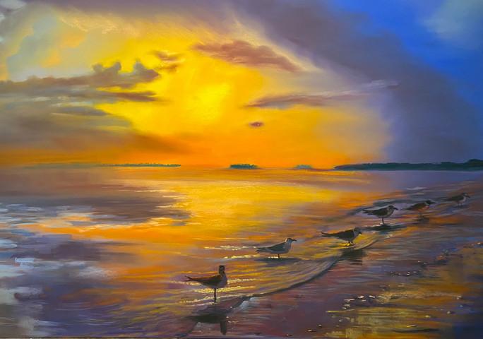 SeagullsSunset Pastel 24x36.jpg