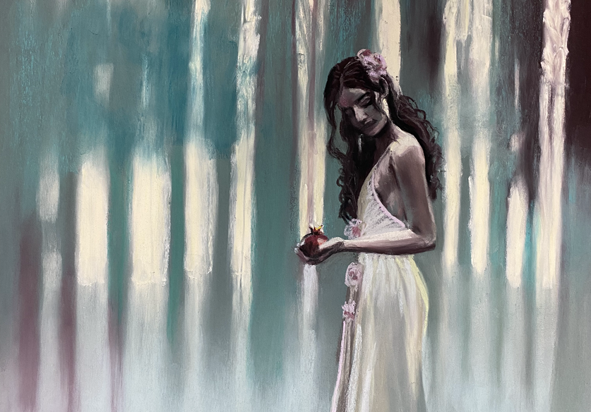 Persephone and the Pomegranate Shawn Dell Joyce pastel on Ampersand Pastelbord 20x16 2021.